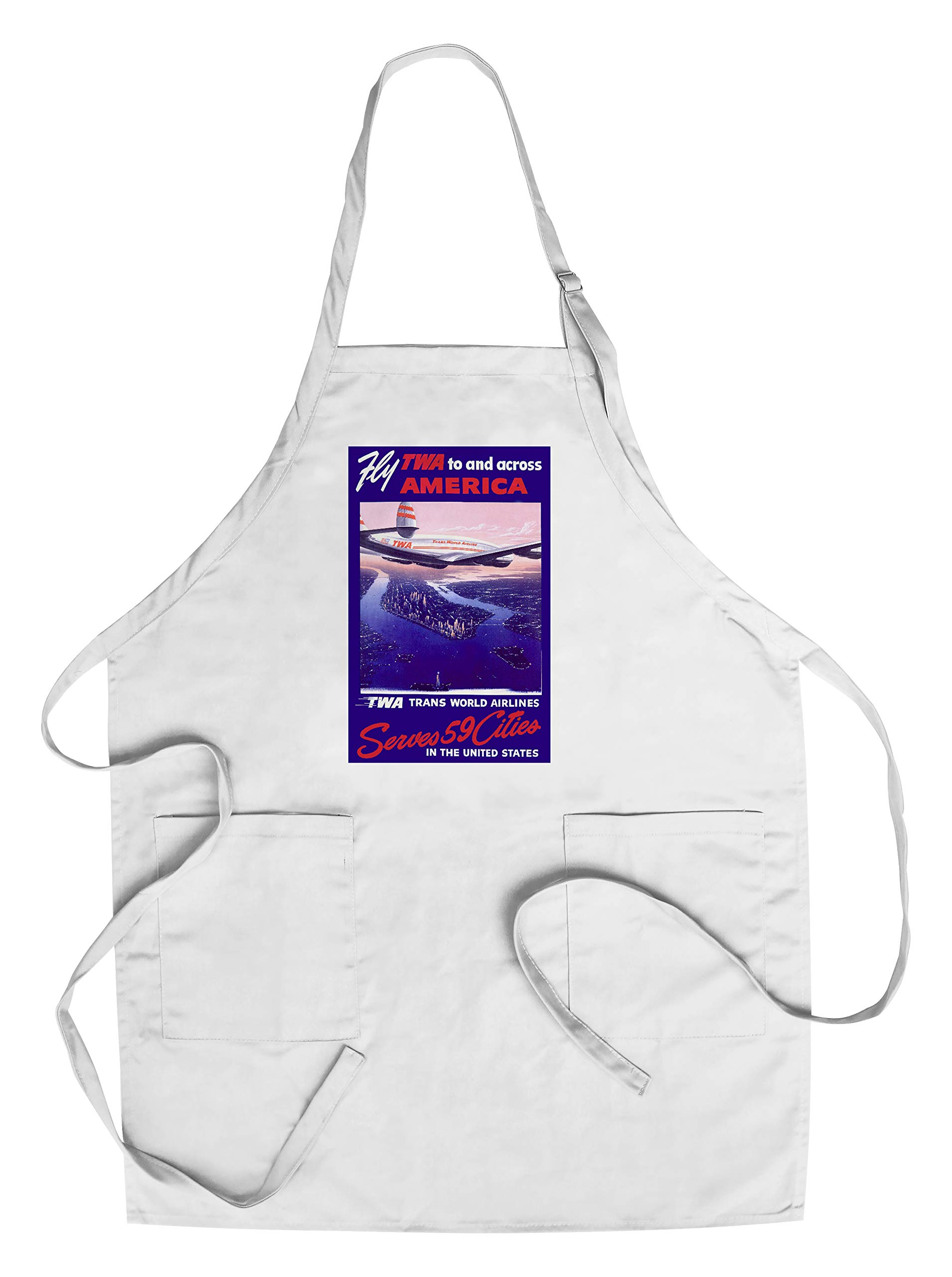Fly TWA to and Across America Vintage Poster (artist: Oltesz) USA c. 1950 (Cotton/Polyester Chef's Apron)