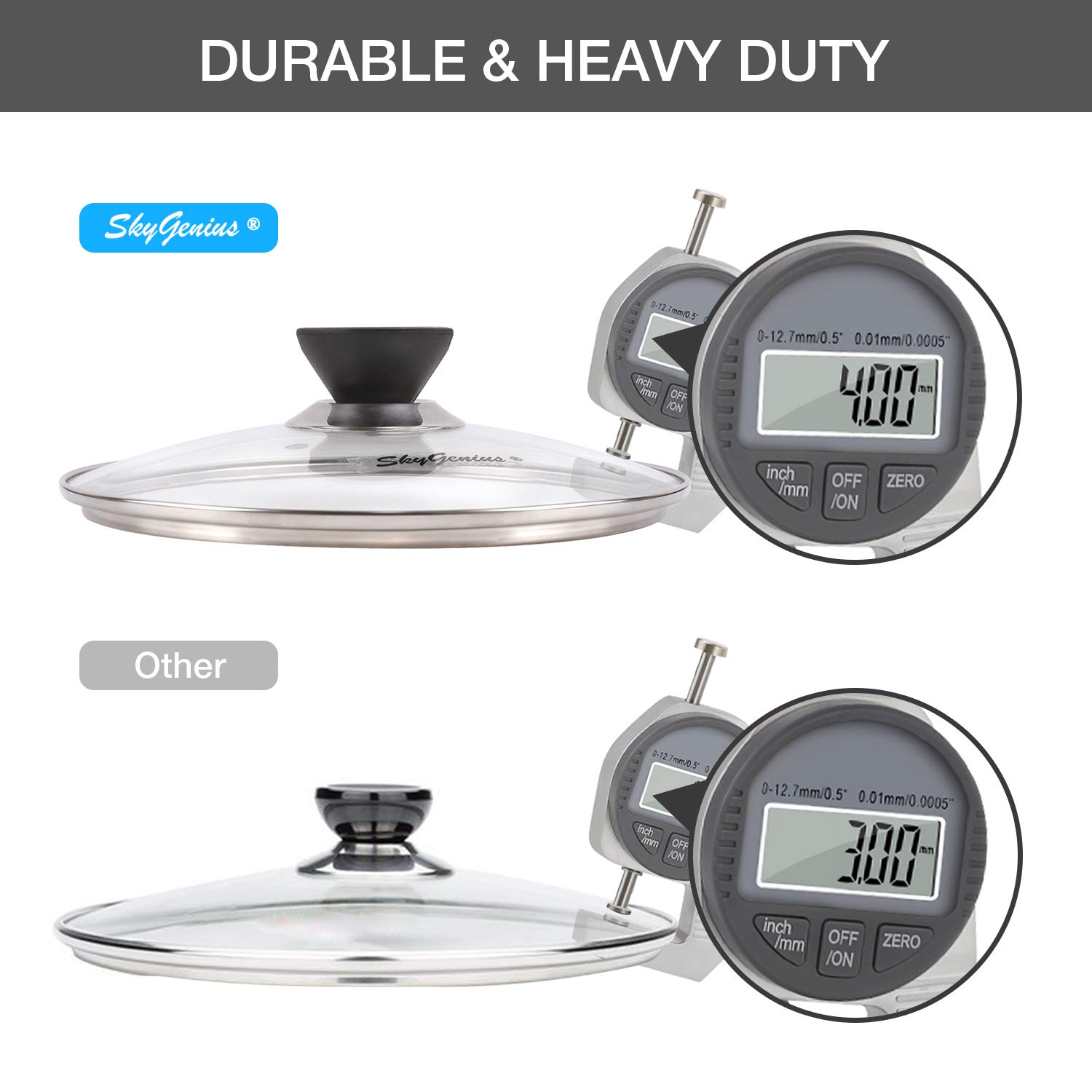 9 inch Tempered Glass Lid for Instant Pot 6 Quart Universal Pan or Pot Cover W//Spoon Holder