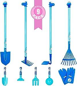 Colwelt 9PCS Kids Garden Tool Set, Kids Garden Tall Tool Set with Real Sturdy Steel Heads, Kids Gardening Tools Include Rake, Spade, Hoe and Leaf Rake, Fork, Spoon, Kids Garden Gloves