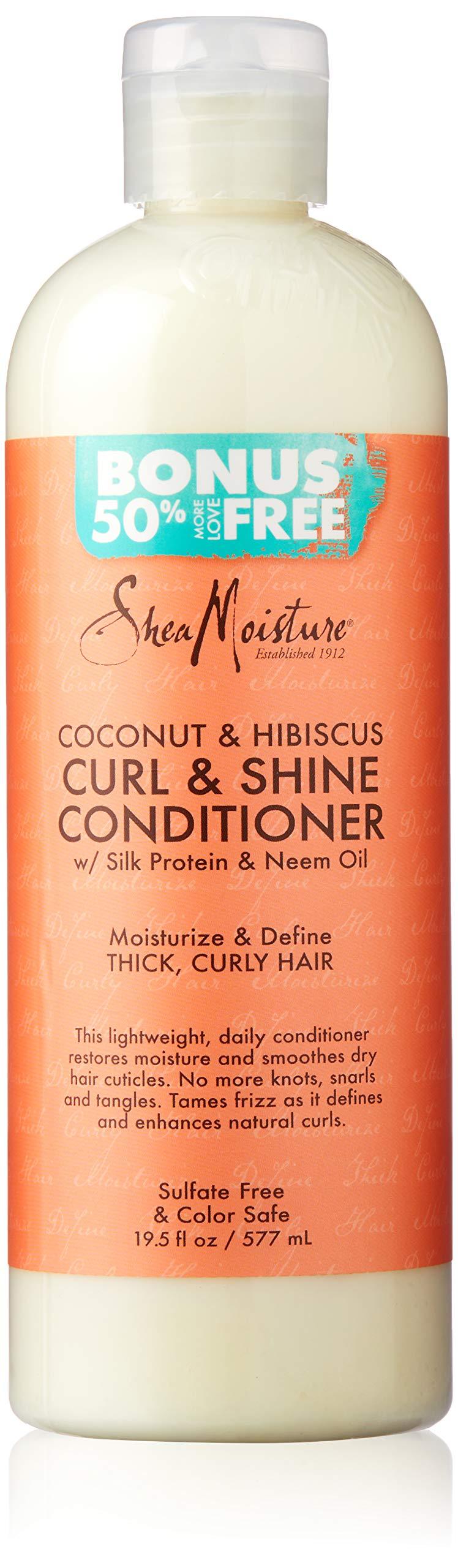 Shea Moisture Coconut & Hibiscus Curl & Shine Conditioner, 19.5 Fl Oz