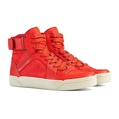 ede3f4c22d7 Gucci Men s Red Leather Nylon High Top Sneakers 409766 (6 G   7 US