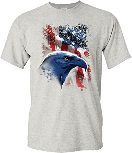 Bald Eagle Flag T-Shirt 4th of July Patriotic American Flag USA Mens Tee Shirt