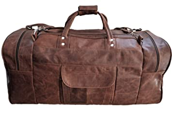Image Unavailable. Image not available for. Color  Men s Genuine Leather  Large Vintage 24 quot  Duffle Travel Weekend Overnight Gym Bag eced6ee600b4c