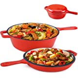 Suteck Enameled Cast Iron 2-In-1 Skillet Set, Heavy Duty 3.2 Quart Enamel Cookware Pot and Lid Set, Deep Saucepan and…