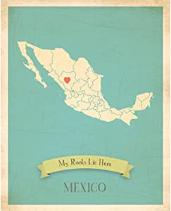 Children Inspire Design Kid's Wall Map, My Roots Mexico Personalized Wall Map 11x14, Kid's Mexico Map Wall Art, Wall Art Print, Nursery Decor, Nursery Wall Art