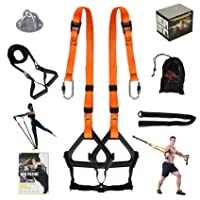 Moulyan Bodyweight Resistance Training Straps Complete Home Gym Fitness Trainer kit for Full-Body Workout Easy Setup Gym Home Outdoors