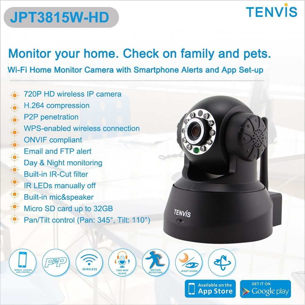 Tenvis jpt3815w hd 720p hd p2p wireless ip camera webcam wi fi pan tilt network camera cctv security monitor with 2 way audio night vision micro sd card
