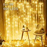 Avoalre 6Mx3M LED-lichtgordijn 600 LED's lichtkettinggordijn (max.3 sets) Uitbreidbaar met stekker 8 modi…