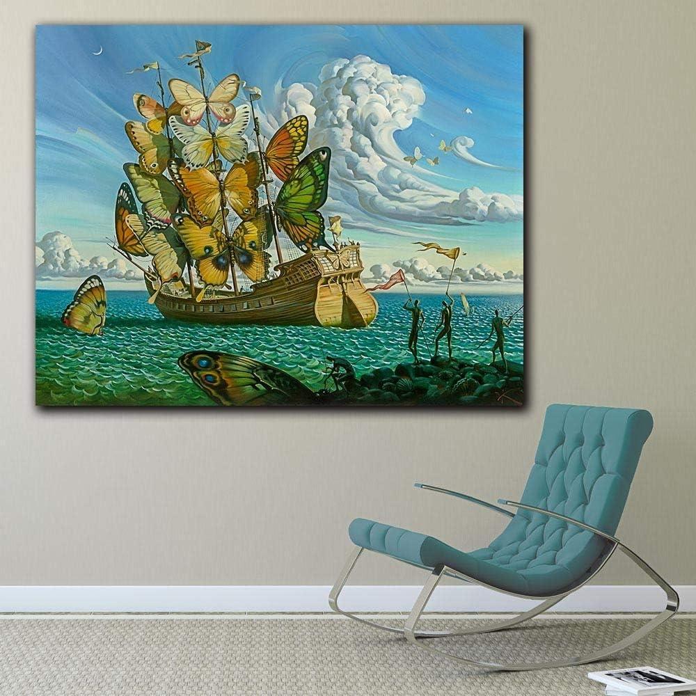 YHZSML Arte de Pared de Moda Salvador Dali Pintura Mariposa Barco Pared Cuadros para Sala de Estar decoración del hogar Pinturas Impresas sin Marco 50x60 cm