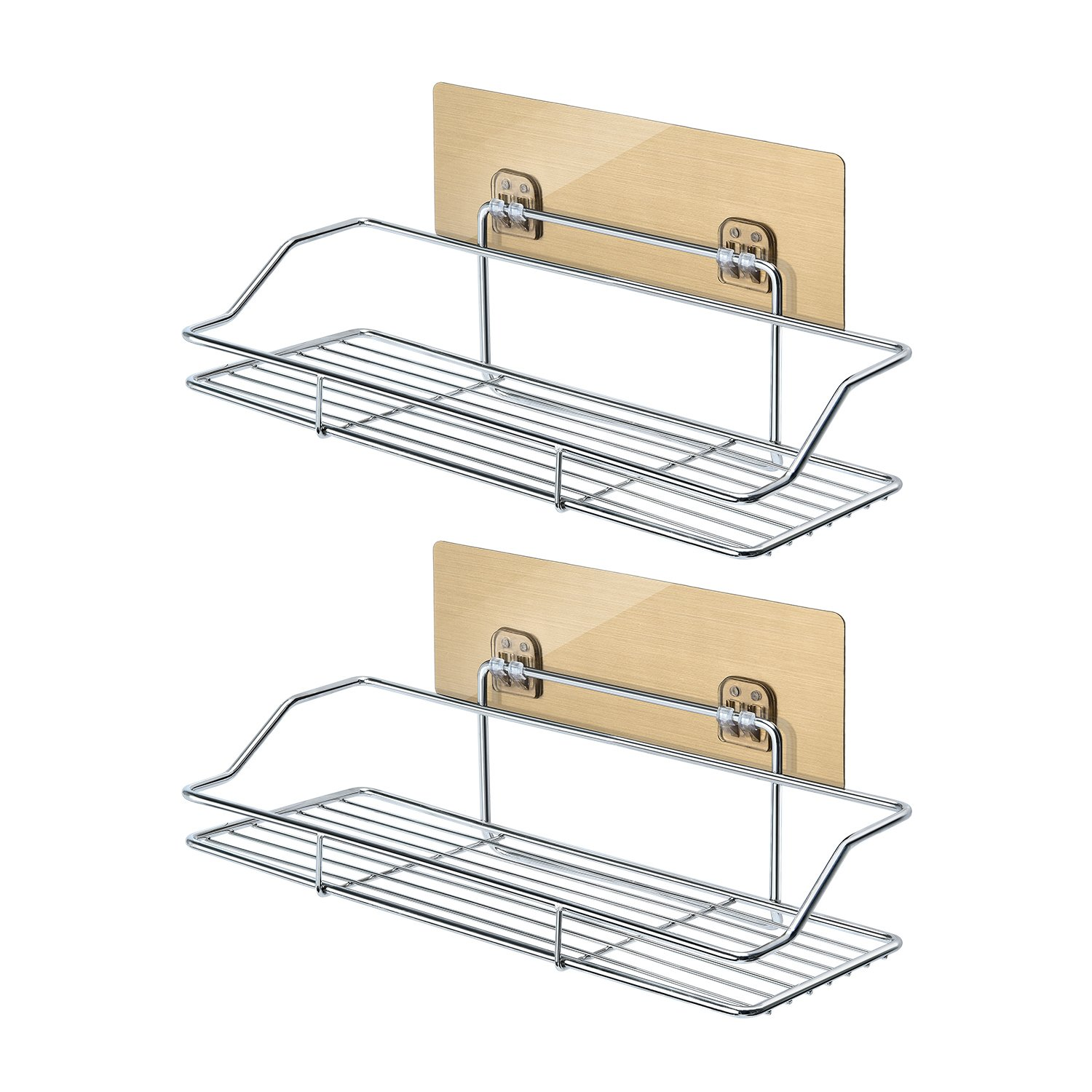 MASGALACC Adhesive Bathroom Shelf Wall Mounted Stainless Steel Shower Basket Kitchen Storage Rack No Driling - 2 Pack
