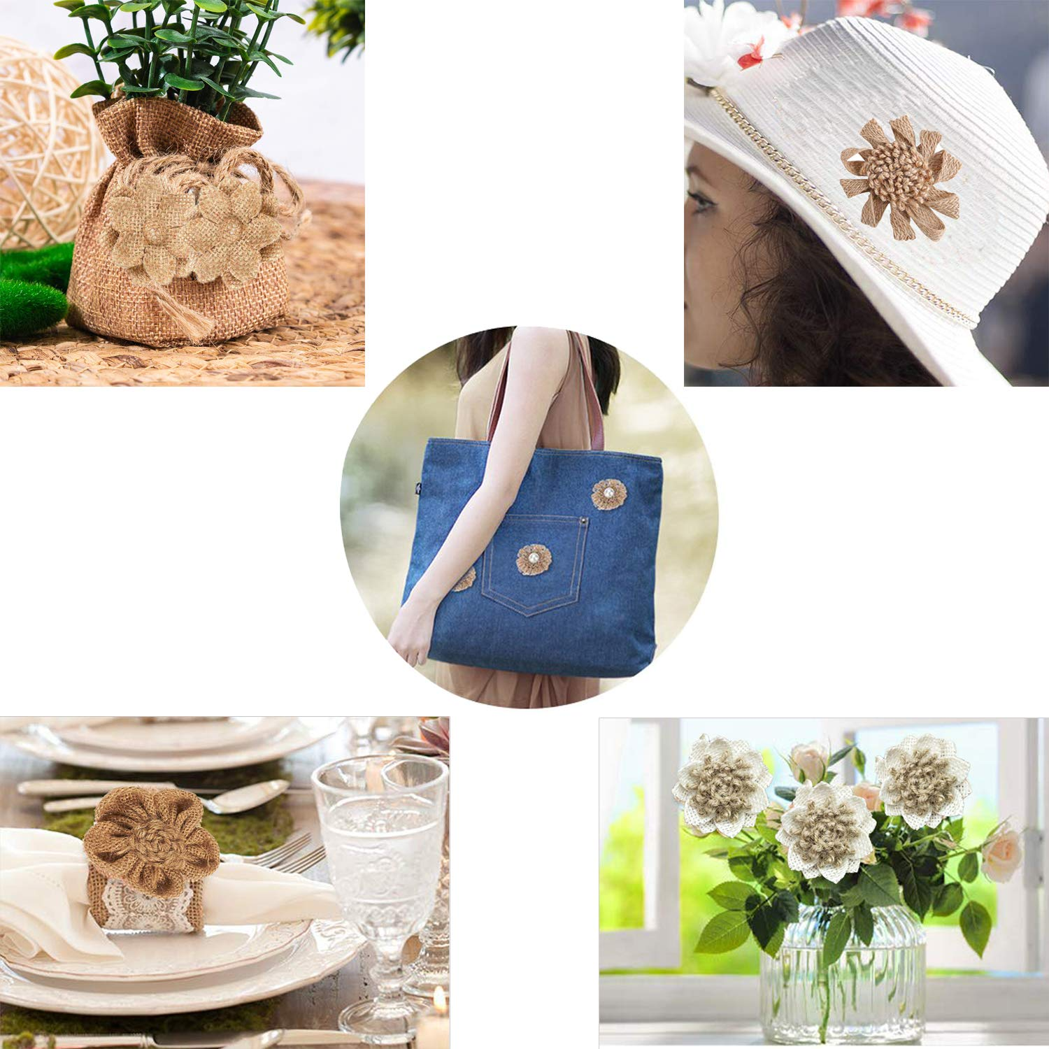 6 Styles Natural Handmade Rustic Burlap Flower Bowknot with Faux Pearls for DIY Craft Bouquets Home Wedding Christmas Party Decoration Y-luck 18PCS Handmade Natural Burlap Flowers