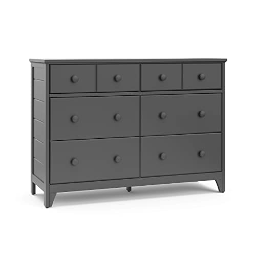 Storkcraft Moss 6 Drawer Universal Double Dresser Gray