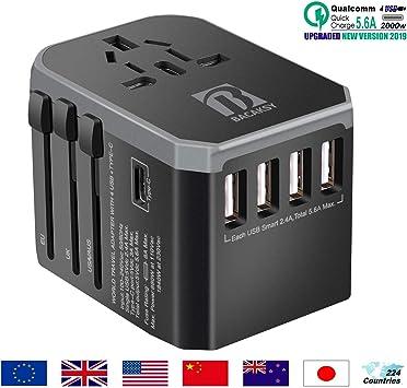 BACAKSY Adaptador Enchufe Internacional, Universal Adaptador Viaje Cargador Internacional Todo en Uno con 4 USB 5.6A Máx 1 Tipo-C 3A para US EU UK AU Japon Asia África 224 Países MAX 2000W: