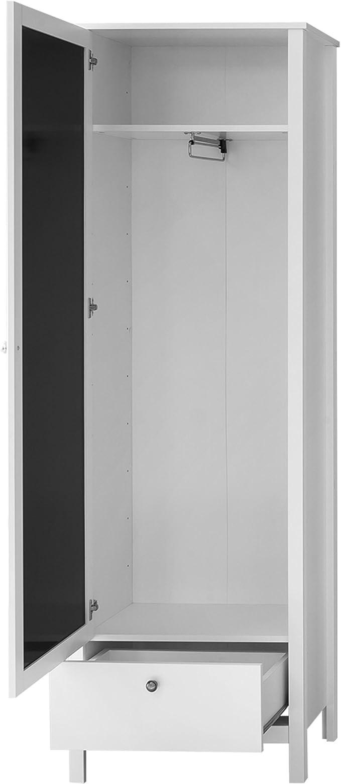 Trendteam Mueble Armario, 1 puerta, Blanco, 62 x 192 x 202 cm: Amazon.es: Hogar