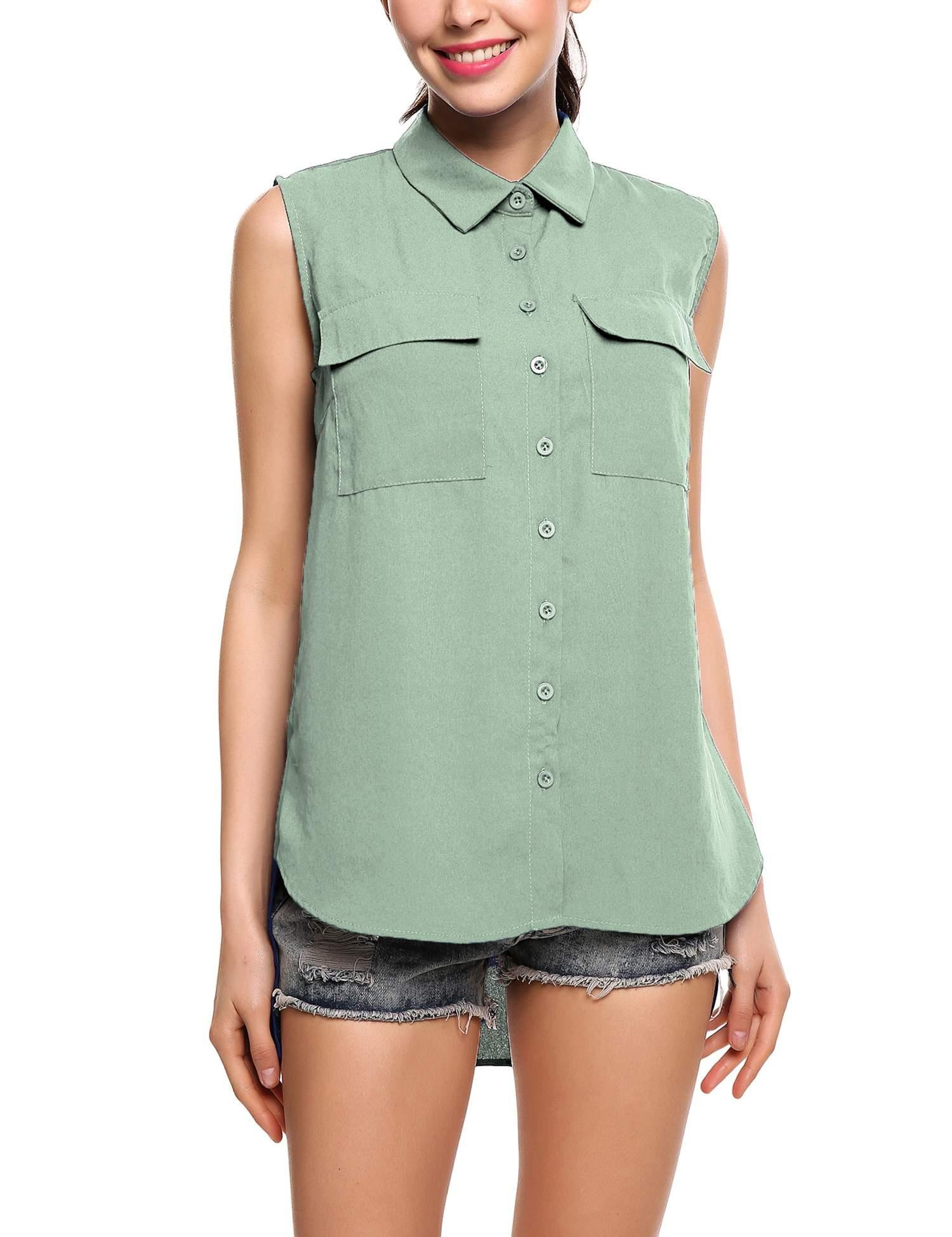 Jingjing1 Women's Summer V Neck Sleeveless Blouse Loose Pleated Chiffon Tank Tops (Small, Style 2- Green)