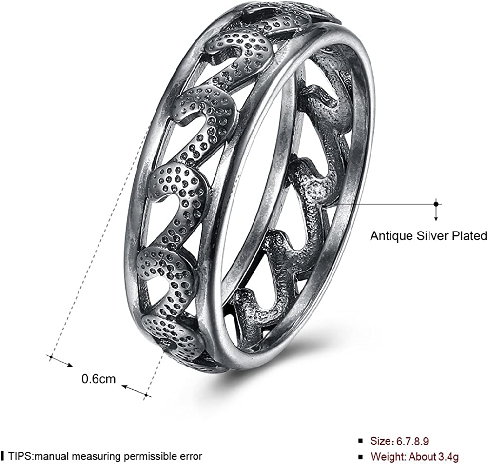 KopooaP Classical Antique Silver Band Rings Jewelry Birthday Gifts Presents Design for Women