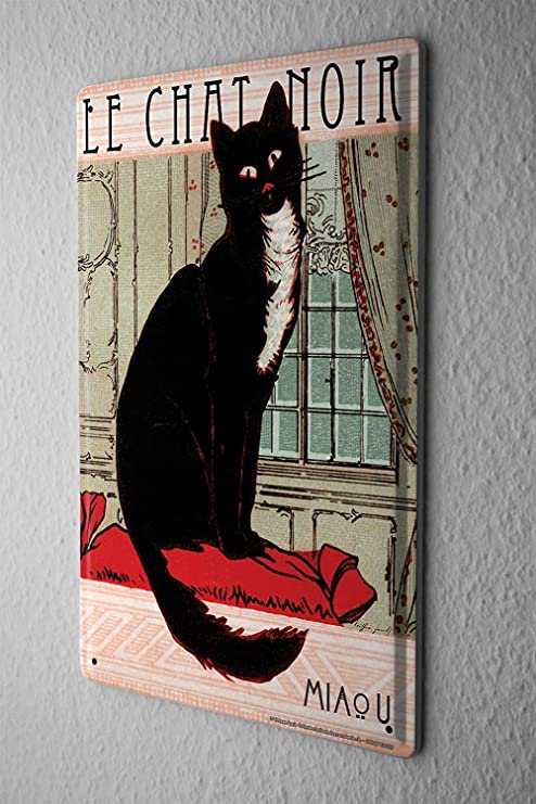 DOGT Tin Sign Cat Chat Noir 7.8X11.8 Inch: Amazon.es: Hogar