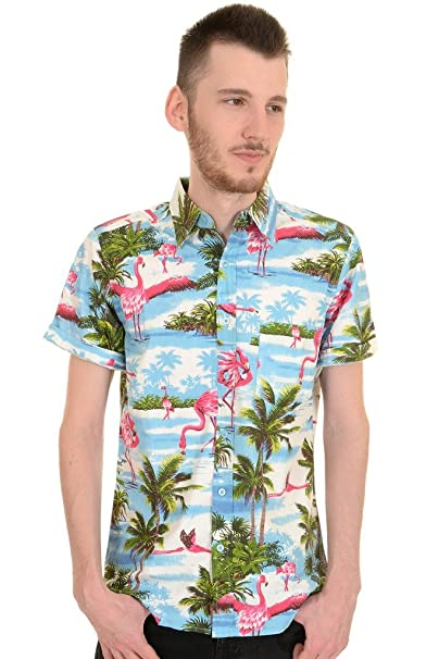 1960s Men's Clothing, 70s Men's Fashion Run & Fly Mens 50s Retro Rockabilly Flamingo Hawaiian Shirt $29.95 AT vintagedancer.com