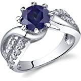 Regal Helix 1.75 carats Created Sapphire Ring in Sterling Silver Sizes J to S