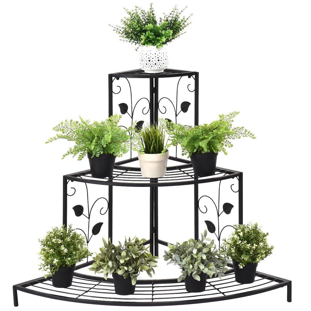 Giantex 3 Tier Plant Stand Floral Corner Metal Flower Pot Rack Stair-Step Style Display Ladder