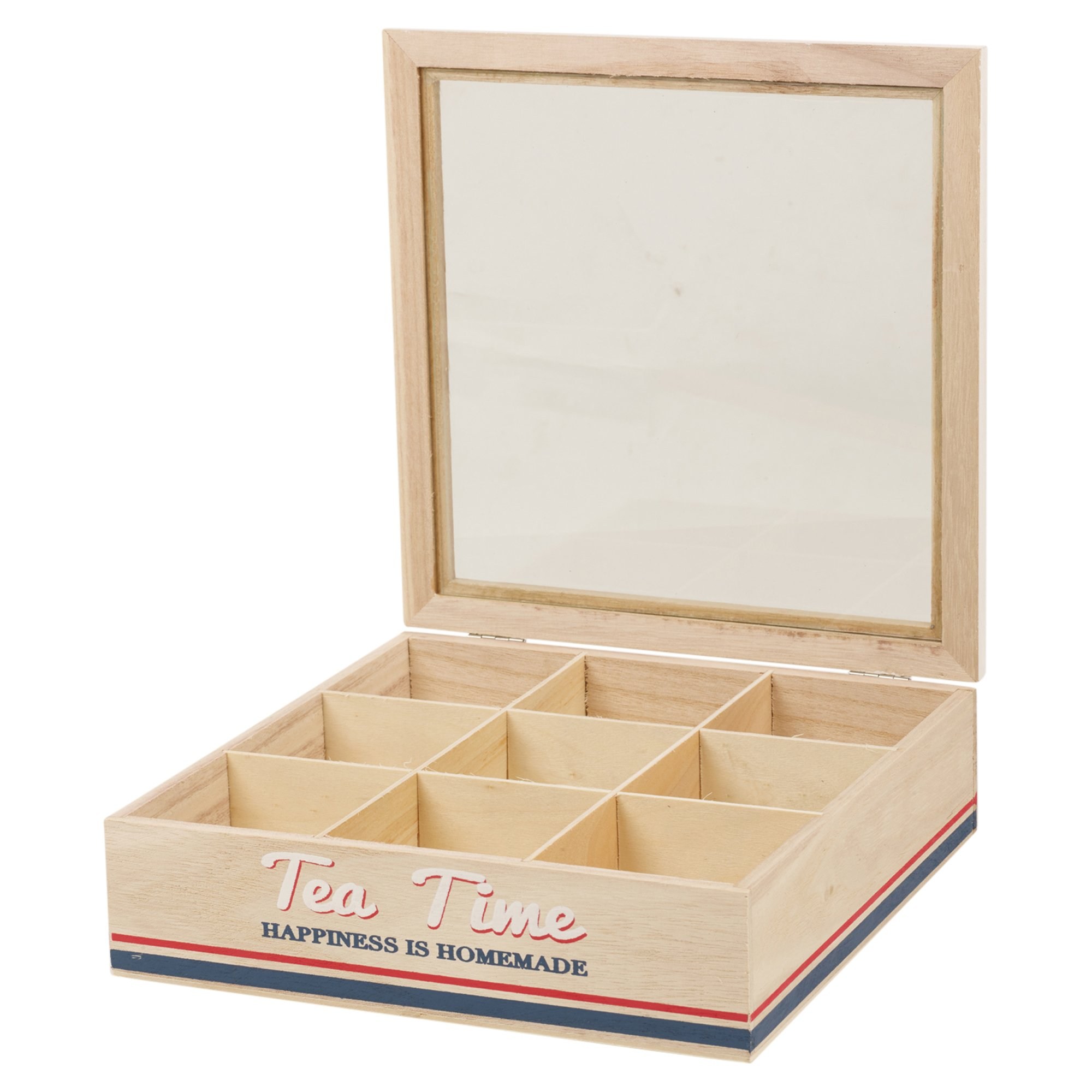 Panorama Stores Wooden Tea Box 6 Or 9 Compartments Hinged Glass Lid Home Kitchen (9 Compartments)