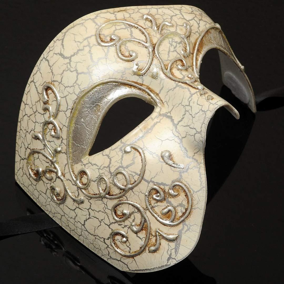 Mens Phantom of the Opera Masquerade Mask - Silver MasqueradeParty
