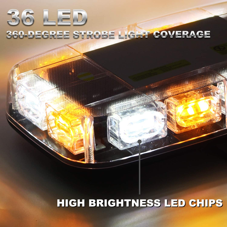 Amber//White Waterproof and Magnetic Mount 12-24V Upgraded VKGAT 36 LED Roof Top Strobe Lights Emergency Hazard Warning Safety Flashing Strobe Light Bar for Truck Car