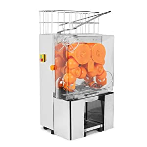 KUPPET 120W Commercial Orange Juicer Auto Feed Orange Juicer Squeezer-Orange Juice Machine Squeeze 20-22 Oranges Per Mins-Stainless Steel Silver
