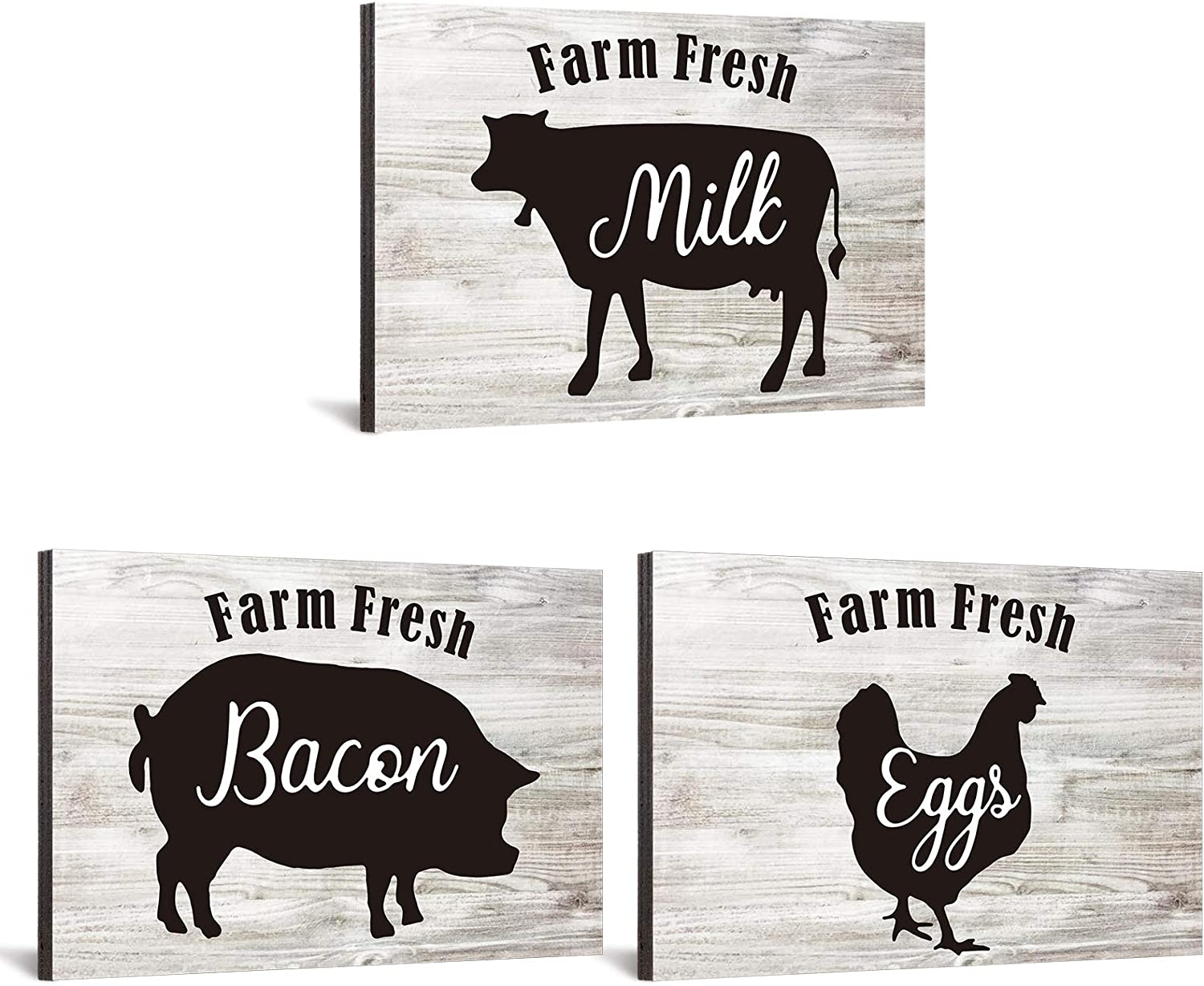Jetec 3 Pieces Farmhouse Decor Farmhouse Kitchen Signs Cow Chicken and Pig Decors 5.5 x 3.9 Inch Rustic Wooden Signs Country Wall Decorations for Kitchen Wall Decor and Home Decor