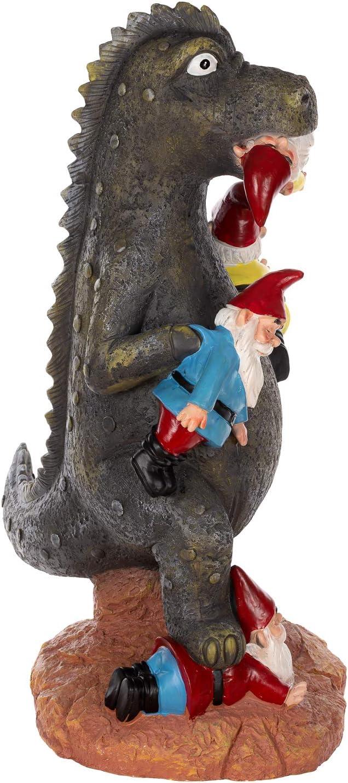 R/ésine tress/ée nain de jardin multicolore Birendy Figurine de dinosaure lutin d/écoratif NF36728-30 cm