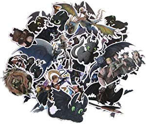 Cartoon Movie Themed How to Train Your Dragon 48 Piece Sticker Decal Set for Kids Adults - Laptop Motorcycle Skateboard Decals