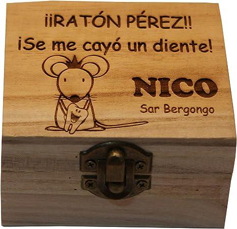 Caja de madera del Ratoncito Pérez personalizada con el nombre grabado a laser: Amazon.es: Bebé