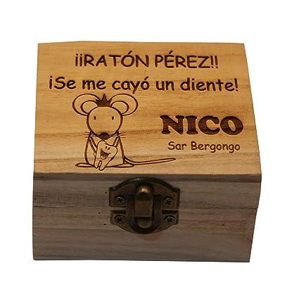 Caja de madera del Ratoncito Pérez personalizada con el nombre grabado a laser