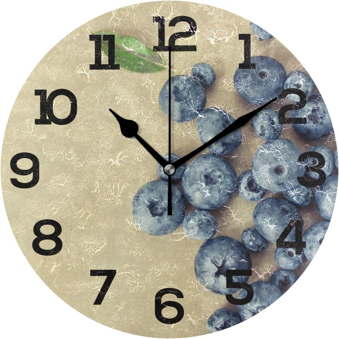 IMONKA Blueberry Round Wall Clock Non Ticking Silent Acrylic Clocks for Home Decor Living Room Bedroom Kitchen School Office