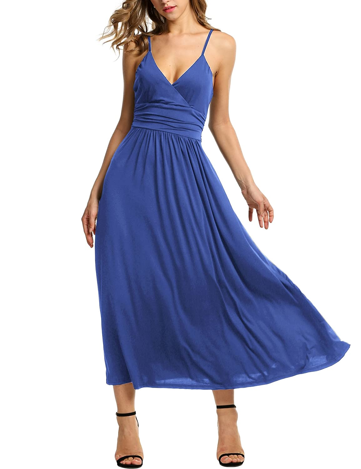 Meaneor Women's V-neck Empire Waist Maxi Dress Spaghetti Strap Wrap Long Dress MA004908#