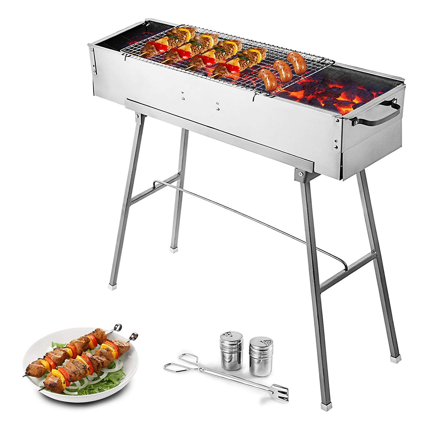 VEVOR Folded Portable Charcoal BBQ Grill 32'' X 8'' Stainless Steel Kebab Perfect for Outdoor Barbecue Camping, Silver