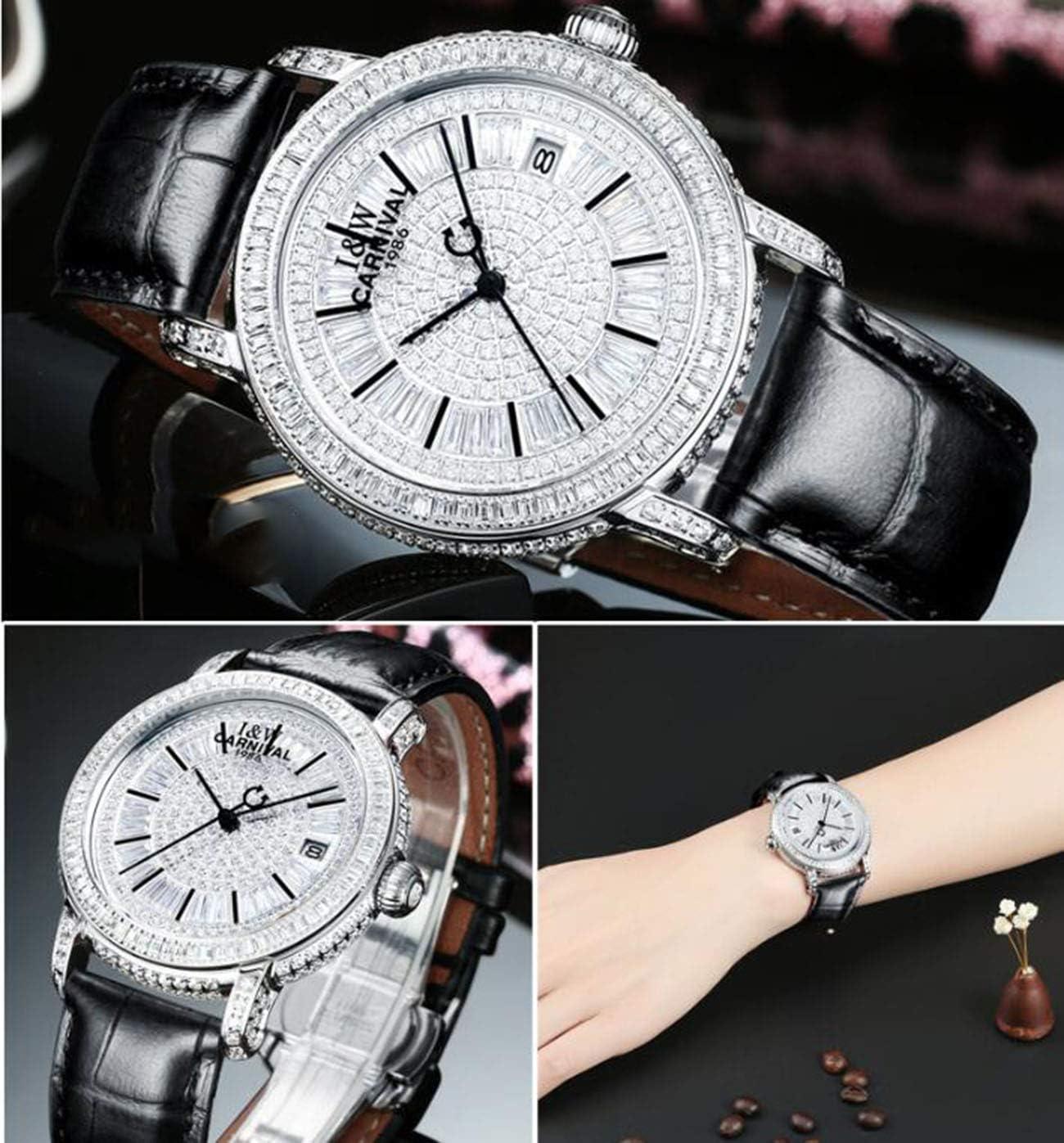 QXue Femmes Montre mécaniques Diamant Imperméable Montres pour Acier Bracelet en Cuir colorC