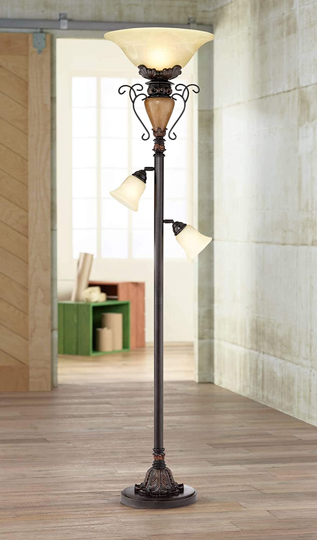 Traditional Torchiere Floor Lamp Tree Bronze Adjustable Alabaster Glass Shades Slide Dimmer for Living Room Reading – Regency Hill