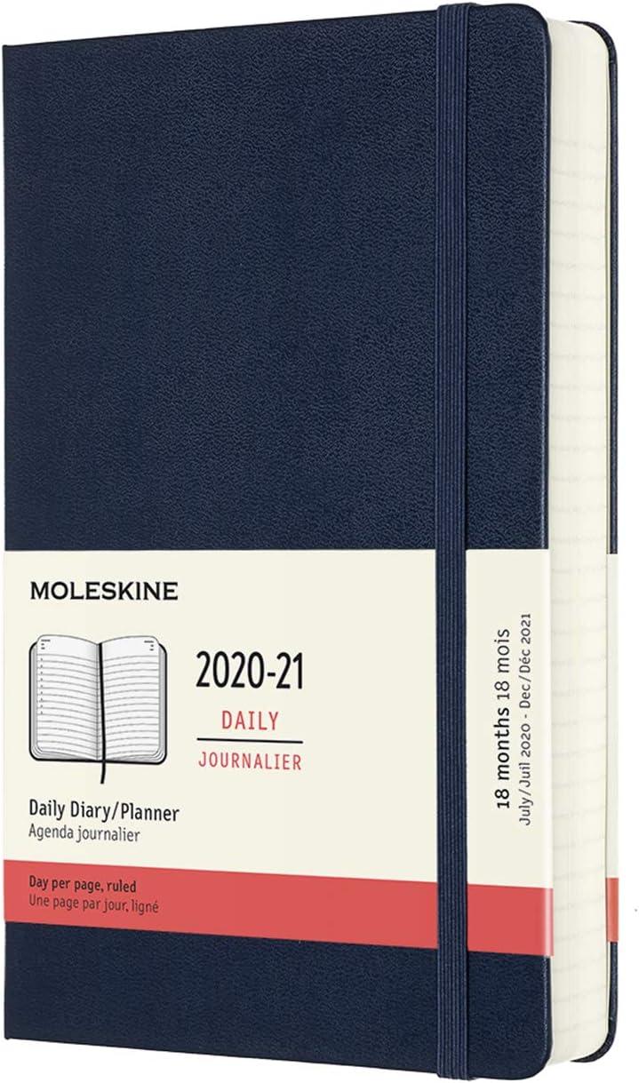 Moleskine - Agenda 2020/2021 un Día por Página, Agenda de 18 Meses, Planificador Diario con Tapa Dura y Cierre Elástico, Tamaño Grande 13 x 21 cm, Azul Zafiro, 608 Páginas