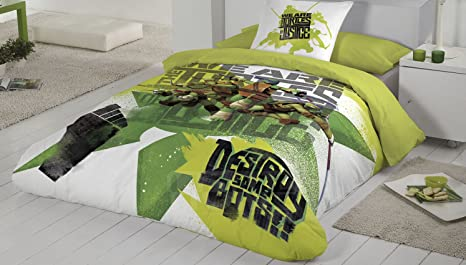 Disney.- Saco nordico infantil con relleno Tortugas Ninja Graffiti para cama de 90 cm