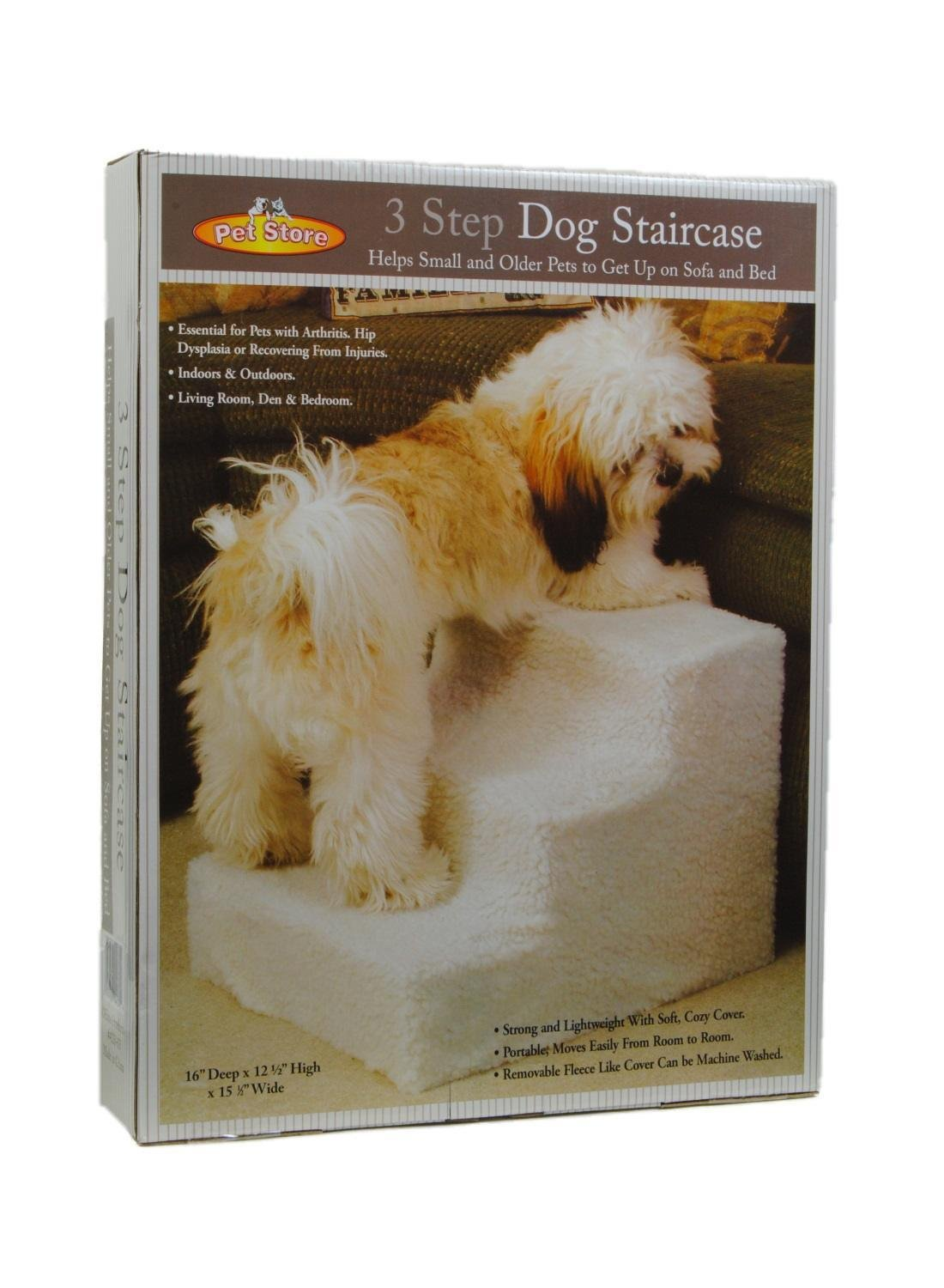 Etna Products Pet Stairs 3 Steps Stairs Small Dog Cat Steps Pet Ramp Ladder Portable Travel Up to 20 lbs