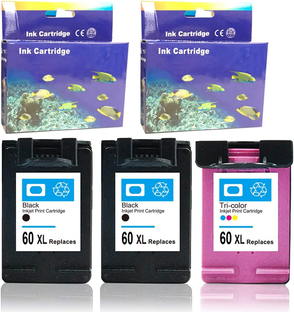 Envy 100 110 120 ZET Remanufactured Ink Cartridges Replacement for HP 60XL for Photosmart C4780 C4795 C4680 D110 2 Black, 1 Color Deskjet F4480 F4280 F4580 D2530 D2545 D2680 F4280 F2430 F4210