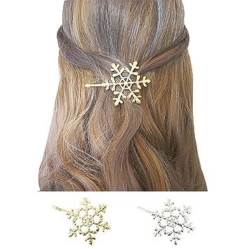 2 Stück Minimalistische Haarnadeln, Schneeflocken Formen, Damen ...