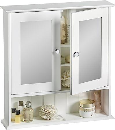 VonHaus Armoire de Toilette avec Miroir 2 Portes pour Salle de Bains –  Blanc – 56 x 13 x 58 cm