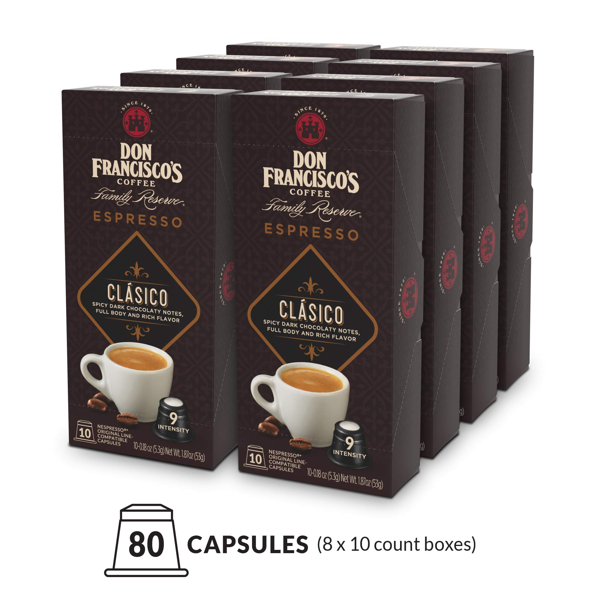 Don Franciscos Espresso Capsules Clasico, Intensity 9 (80 Pods) Compatible with Nespresso OriginalLine