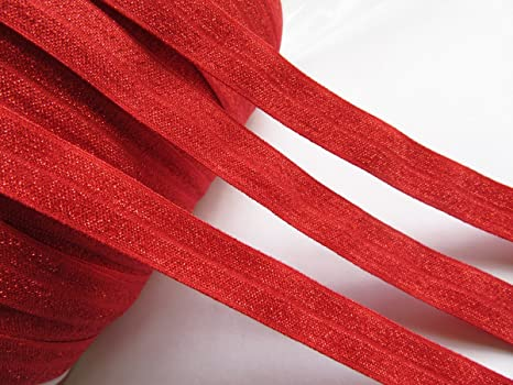 Hairbows Mandala Crafts Fold Over Elastic Stretch Ribbon for Baby Girl Hair Ties Sewing Headbands Red, 1.5CM 5//8 Inch 20 Yards Roll