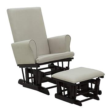 Outstanding Homcom 2 Piece Rubberwood Linen Glider Rocking Chair With Ottoman Set Cream White Squirreltailoven Fun Painted Chair Ideas Images Squirreltailovenorg