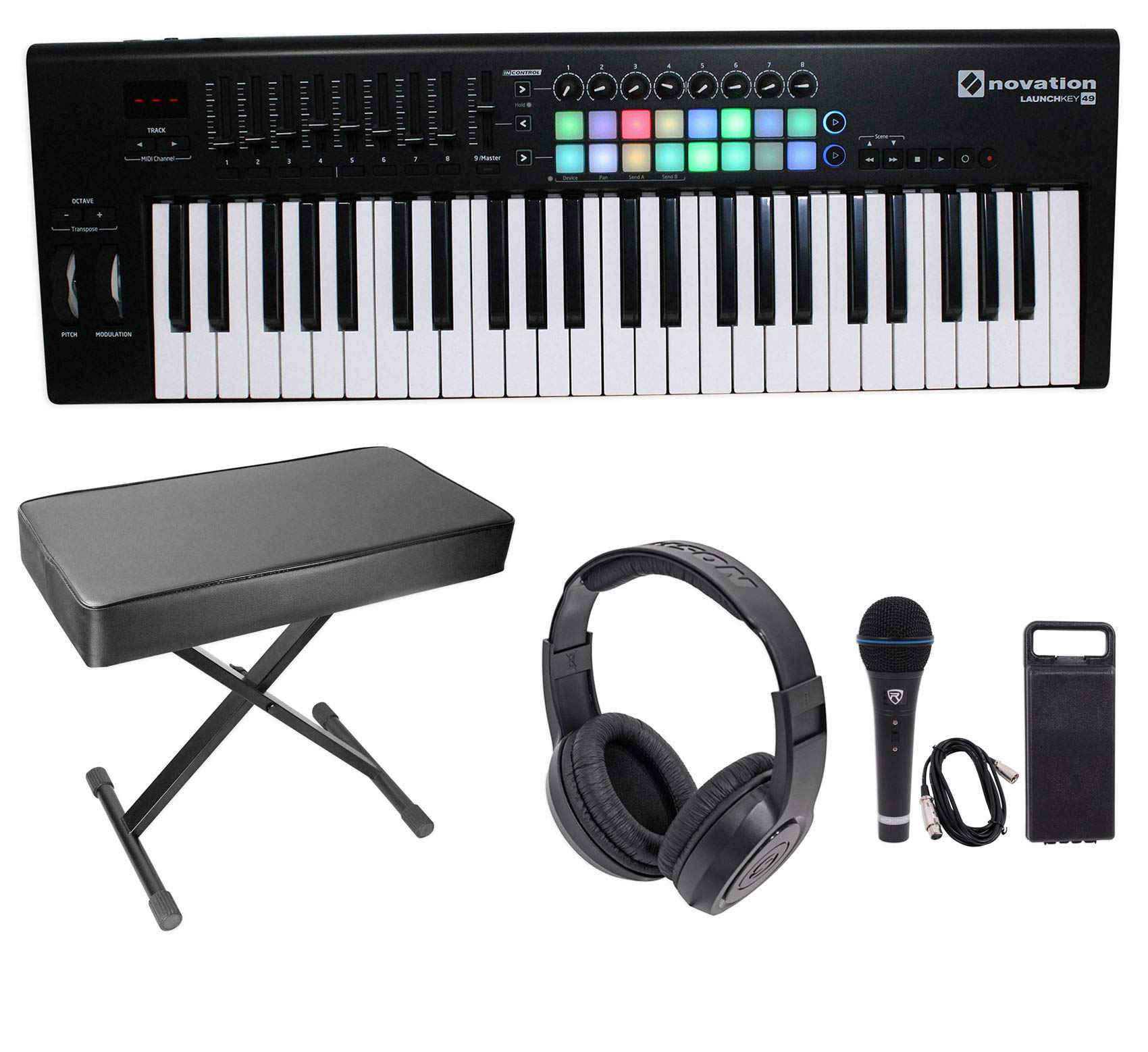 Novation LAUNCHKEY-49-MK2 49-Key Keyboard Controller+Bench+Headphones+Mic+Cable by Novation