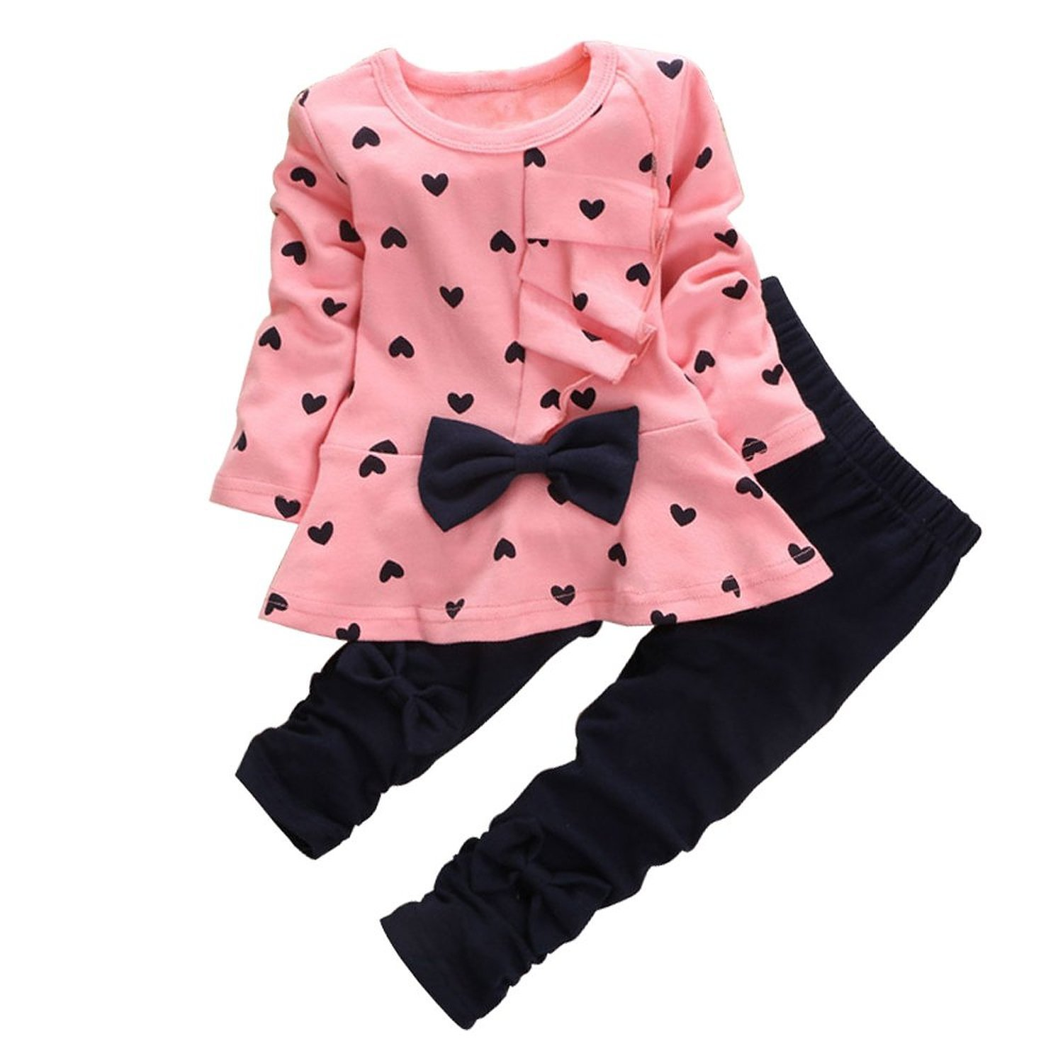 Zeagoo Cute Baby Girls 2 Piece Sets Outfits Sweetheart Dot Tops and Pants Set