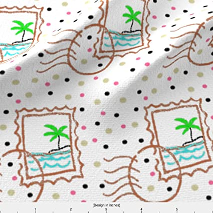 Spoonflower Stamp Fabric Adventure Is Out There Tropical Island Postage By Bohobear Printed On